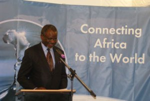 Aggrey Awori, Minister of ICT speaking at the media launch of the SEACOM cable, on July 23, at Serena Hotel Kampala. INDEPENDENT/ BOB ROBERTS KATENDE